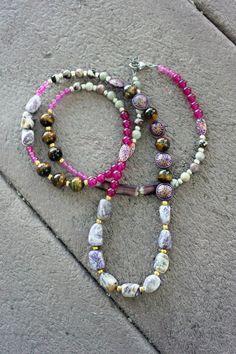 Long Boho Necklace Tigers Eye Peace Jade by BohemianWhimSea, $65.00