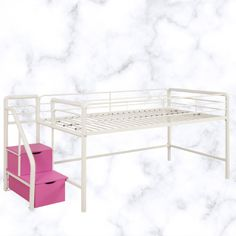 White Loft Bunk Bed For Girls Twin Kids Pink Beds With Toy Low Storage 2 Drawers #White #Transitional Girls Bunk Beds, Loft Bunk Beds, Pink Bedding, Home Furniture, Mattress, Drawers, Twin, Storage, Kids