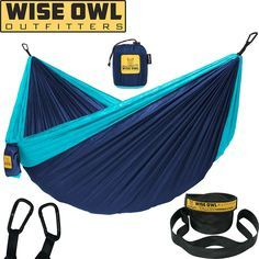 Wise Owl Outfitters Hammock Camping Double & Single with Tree Straps - USA Based Hammocks Brand Gear, Indoor Outdoor Backpacking Survival & Travel, Portable Hammock Tree Straps, Hanging Hammock, Hammock Swing, Yoga Rope, Aerial Yoga Hammock, Portable Hammock, Camping Items, Camping 101, Kayak Camping