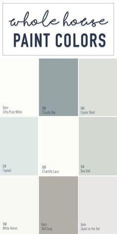 Paint colors for a whole home color palette with calming neutral paint colors from Behr, Benjamin Moore, and Sherwin Williams. Paint colors for a whole home color palette with calming neutral paint colors from Behr, Benjamin Moore, and Sherwin Williams. Farmhouse Paint Colors, Paint Colors For Home, House Colors, Paint Colours, Home Interior Colors, House Color Schemes Interior, Rustic Paint Colors, Coastal Paint Colors, Paint Colors For Office