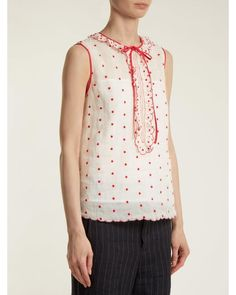 ffe2b6fc0 RED Valentino - White Polka Dot And Ruffle Embellished Sleeveless Top - Lyst  Scalloped Edge,