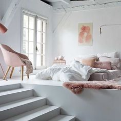 Doesn't this dream bedroom make you want to play hooky and lay in bed all day (with champagne in hand) ☁️ #Wildfox #home #pink #bedroom