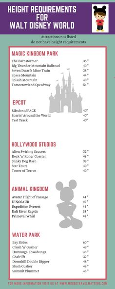 What are the height requirements for Disney World?