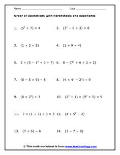 Printables Math Worksheets Order Of Operations practice the order of operations with these free math worksheets parenthesis and exponents