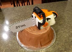 Chainsaw stihl cake made with fondant