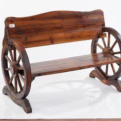 Panchina in legno ruota carro #wood #legno #noitools