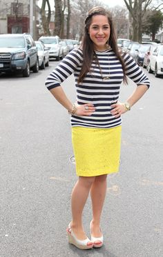 A Sequin Love Affair: Navy and White Stripes + Yellow Lace