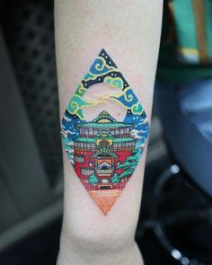 trendy bath house spirited away tattoo Tatuaje Studio Ghibli, Studio Ghibli Tattoo, Unique Tattoos, Small Tattoos, Cool Tattoos, Tatoos, Body Art Tattoos, Sleeve Tattoos, Spirited Away Tattoo