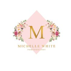 Premade Logo Design Branding Professional Clean Blush Pink and Gold Foil Watercolor Floral Bouquet Chic Trendy Design Monogram Initials Monogram Logo, Monogram Initials, Cadre Photo Booth, Logo Branding, Branding Design, Inspiration Logo Design, Logo Desing, Flower Logo, Wedding Logos