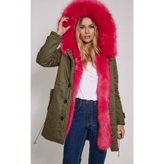 Jen Fuschia Fur Lined Premium Parka ($88) ❤ liked on Polyvore featuring outerwear, coats, fuchsia, brown parka, brown coat, fur-lined coats, fur lining coat and parka coat