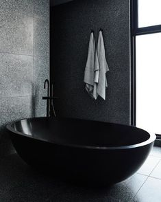 """STUDIO BLACK INTERIORS on Instagram: """"Black on black. The beauty of black and the contrast of light bouncing of the terrazzo tiles and back bath.   Designed by @biasoldesign…"""" Chiaroscuro, Interior Exterior, Bathroom Interior Design, Timber Battens, Timber Staircase, Melbourne, Palette, Dark Interiors, My New Room"""