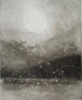 "Norman Ackroyd, (born UK ""Evening Snow, Coniston"", 1999 etching/aquatint x edition of 90 Norman Ackroyd, Intaglio Printmaking, Black And White Painting, Gouache, Light In The Dark, Art Photography, Illustration Art, Art Prints, Lino Prints"