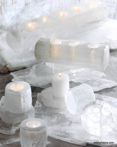 Roost Selenite Tealight Holders & Logs * Next Day Shipping * – Modish Store