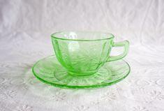 Uranium Glass Cup and Saucer | Vintage Green Depression Glass | Vaseline Glass Teacup