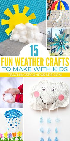 Weather Crafts for Kids Teaching about Weather? Use these weather crafts ideas for hands-on learning. Smiling sunny faces, dark rain clouds, gorgeous rainbows, and even some snow! Weather Activities Preschool, Preschool Crafts, Toddler Activities, Preschool Activities, Spring Activities, Therapy Activities, Therapy Ideas, Art Therapy, Weather For Kids