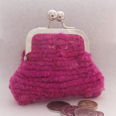 Small Coin Purse - Cerise Woven