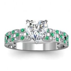 Change the emeralds to sapphires. Heart Shaped Diamond Ring, Heart Shaped Engagement Rings, Unusual Engagement Rings, Heart Shaped Rings, Diamond Rings, Diamond Engagement Rings, Pretty Rings, Heart Shapes, White Gold