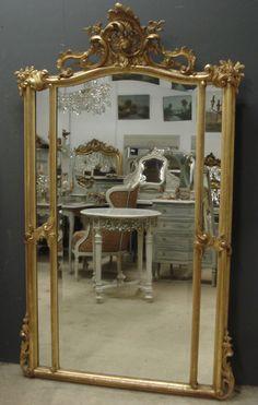 Large crested margin antique mirror c.1890 from www.jasperjacks.com