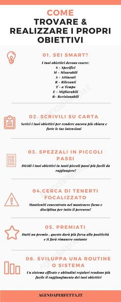 infografica come trovare i miei obiettivi e realizzarli infographic how to find my goals and achieve them Positive Vibes, Positive Quotes, Self Organization, Miracle Morning, Study Motivation, Running Motivation, Self Development, Better Life, Love Life
