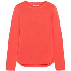 Chinti and Parker Cashmere sweater ($225) ❤ liked on Polyvore featuring tops, sweaters, shirts, orange, red cashmere sweater, chinti and parker, elbow patch shirt, cashmere tops and orange top