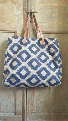 Blue jud tote ikat printed bag