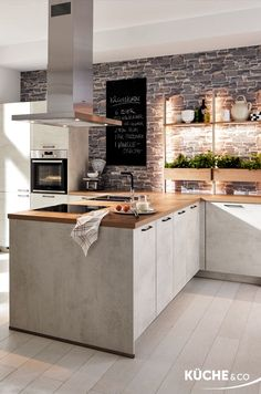 Modern kitchen in white concrete - This kitchen has taste! This is not only evident in the friendly and Modern kitchen in white concrete - This kitchen has taste! This is not only evident in the friendly and bright design with natural mat - Open Kitchen And Living Room, Eat In Kitchen, Living Room Modern, Kitchen White, Kitchen Interior, Kitchen Decor, Kitchen Layout, Home Interior, Diy Kitchen