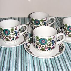 4 Mid Winter Staffordshire cups & saucers - love these colours.