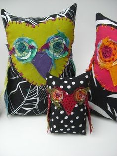 Free form Stitched Owls Pillow...