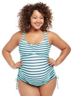 76c4486e425bc Plus Size Cross Back Maternity Tankini Swimsuit | Motherhood Maternity  Summer Maternity Fashion, Maternity Outfits