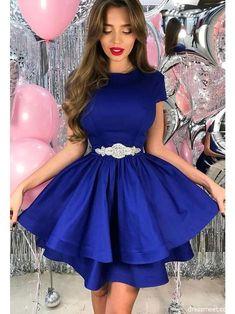Plus Size Prom Dress, A-Line Satin Sash/Ribbon/Belt Sheer Neck Short Sleeves Short/Mini Homecoming Dresses Shop plus-sized prom dresses for curvy figures and plus-size party dresses. Ball gowns for prom in plus sizes and short plus-sized prom dresses Club Dresses, Sexy Dresses, Beautiful Dresses, Short Dresses, Prom Dresses, Dresses For Work, Elegant Dresses, Summer Dresses, Formal Dresses