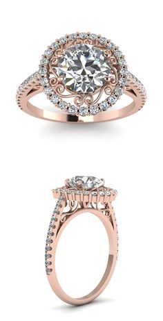 Rose Gold Halo Engagement Rings | Fascinating Diamonds
