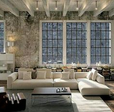 Industrial Style Loft with charming elements to add to your home decor. A breath of fresh air into your industrial style loft. In an industrial style world, the interior design project of today will m Cozy Living Rooms, Living Room Interior, Home Interior Design, Living Room Furniture, Living Spaces, Loft Furniture, Living Area, Furniture Ideas, Interior Modern