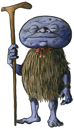 """Abura-Sumashi, by Richard Svensson. """"The potato-headed Abura-sumashi; a weird but popular Japanese Yokai from the island of Amakusa . Its name can be translated as """"oil wringer"""", and it may be connected to the extraction of oil from the seeds of the Camellia sasanqua plant. This image was done for a book project about the creatures of japanese folklore."""""""