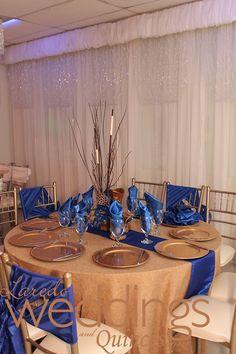 Wedding tablescape Palacio de los Presidentes  #royalblue #tablescapes #gold  http://www.ldoweddings.com/palacio-de-los-presidentes-wedding/