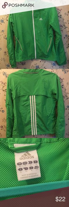 Green Adidas track jacket or spring/fall jacket. Green Adidas zip up jacket. Perfect piece for the ever changing fall weather. Great for outdoor workouts or everyday use. Excellent condition with no flaws. adidas Jackets & Coats