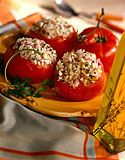 Greek Rice Stuffed Tomatoes.  Gluten-free goodness!