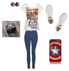 """""""When you grow up in a marvel family."""" by cantimaginewithoutyou ❤ liked on Polyvore featuring Topshop and Converse"""