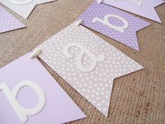 Purple Gray and Lavender Baby Shower Banner  - $22 + shipping - available on Etsy