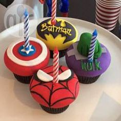 Superhero Cupcakes, Batman Cupcakes, Hulk Cupcakes, Spiderman Cupcakes, Captain America cupcakes @ de.allrecipes.com