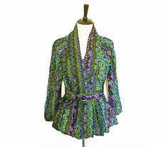Multicoloured African Print Pemplum Jacket in by BrookandEnvy
