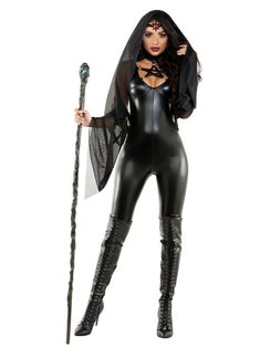 You'll have them under your spell in this Black Magic Sorceress costume featuring a black coated spandex catsuit, star detail, sheer black mesh hooded shawl, and a black sequin and red jewel headpiece. (Staff and boots not included. Witch Costumes, Masquerade Costumes, Scary Costumes, Adult Costumes, Costumes For Women, Vampire Costumes, Spandex Catsuit, Catsuit Costume, Spandex Dress