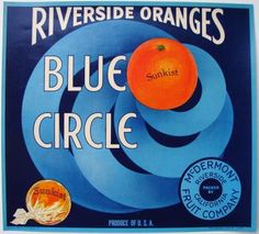 BLUE CIRCLE Vintage Riverside Orange Crate Label