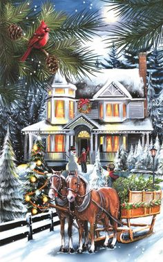You put horses, Christmas trees, big beautiful homes, and snow.and it is Christmas to me♥♥ Vintage Christmas Images, Old Christmas, Old Fashioned Christmas, Christmas Scenes, Victorian Christmas, Retro Christmas, Country Christmas, Christmas Pictures, Christmas Greetings