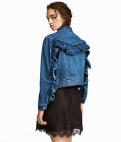 Check this out! Jacket in washed denim with a ruffle at front and back. Collar, buttons at front, and side pockets. - Visit hm.com to see more.