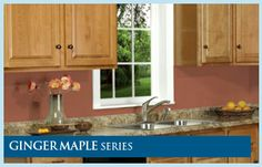 Ginger Maple RTA Cabinets. The light brown finish and arched doors makes this a popular cabinet for traditional homes and kitchens with a classic style.