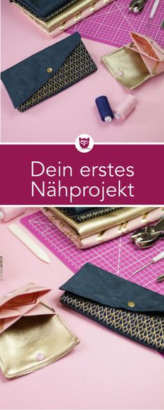 Your first sewing project: sew your wallet and clutch for .- Your first sewing project: wallet and clutch sew for absolute sewing enthusiasts with free Makerist sewing pattern – video instructions from DIY Eule - Sewing Basics, Sewing Hacks, Sewing Tutorials, Sewing Patterns, Sewing Tips, Sewing Ideas, First Sewing Projects, Sewing Projects For Beginners, Sewing Courses