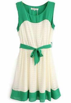 Green Beige Sleeveless Hollow Belt Chiffon Dress US$31.64