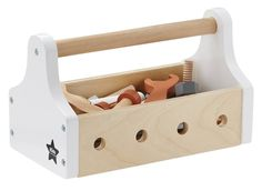 Wooden Toolbox Kid's Concept Children- A large selection of Toys and Hobbies on Smallable, the Family Concept Store - More than 600 brands. Wooden Toy Boxes, Wooden Toys, Cardboard Toys, Kids Tool Box, Baby Changing Tables, Baby Accessoires, Modern Nursery Decor, Diy Projects For Kids, Toddler Gifts