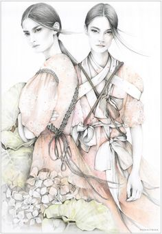 Caroline Maréchal. Fashion illustration on Artluxe Designs. #artluxedesigns