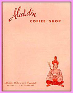 Aladdin Hotel Coffee Shop, Vintage Menu Kansas City